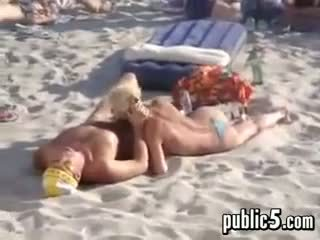 voyeur, pantai, blowjob