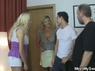 gruppsex, stora bröst, swingers
