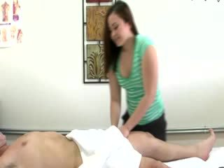Hot asian babe sucking and tugging cock for her client