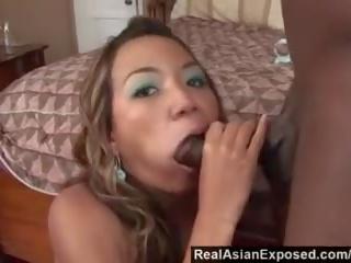 Realasianexposed - 亚洲人 cutie keeani lei gags 上 大规模 黑色 公鸡