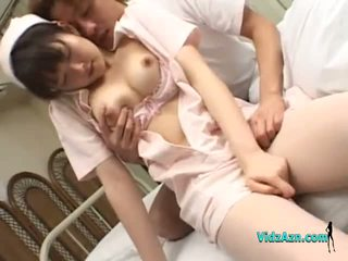 Asain Nurse Getting Her Tits Rubbed Pussy Fingered By A Patient On The Bed In The Hospital
