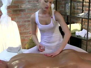 Horny masseuse amateur babe strokes cock