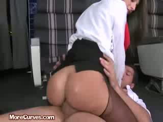 Stewardess Sits On Pilot boner