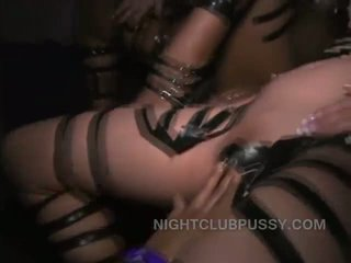 Orgy sluts ride cocks in public at a wild nightclub in the USA that allows group sex