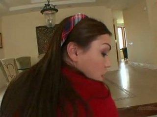 Μακρύς haired κορίτσι του σχολείου laylah diamond gets πατήσαμε & χύσιμο στο πρόσωπο