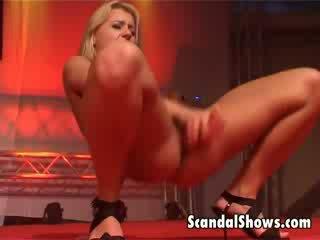 Super hot blonde striper sticks a huge pink dildo deep inside her asshole