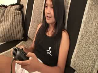 My thai maly playing video game naked