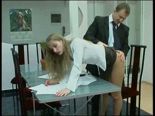 Blond truser kontor babe faen
