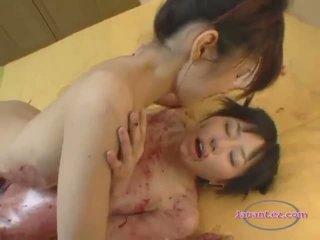 Asian Teen Massaged With Cream And Jam Patting Licking Bodies With Older Girl On The Bed