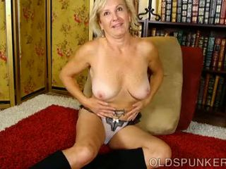 Naughty old spunker frigs her soaking wet pussy for you