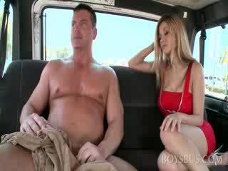 Amateur muscled dude gets big boner in the sex bus