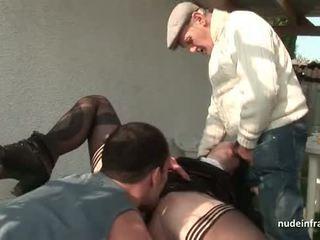 Tineri frances maicuta inpulit greu în in trei cu papy voieur