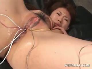 Warga asia tramp gets beliau berambut lebat basah twat fucked dengan vibrators