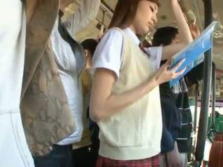 Kaori maeda has jos karštas vagina pie fingered į a viešumas autobusas