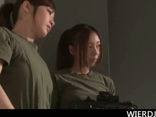 Roped big titted jap army chick gets hard fucked in gan