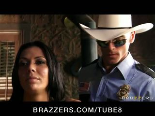 Hardcore brunette babe Rachel Starr is frisked fucked by a cop