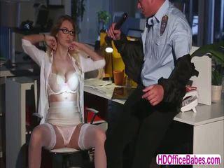 Seductive siren Natalia Starr fuck a hunk security guard in the office