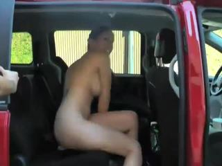 Hustler: Horny babes rides huge cocks while riding in car!