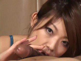 화려한 아시아의 소녀 reiko yabuki gives a 수탉 a 큰 입 비디오