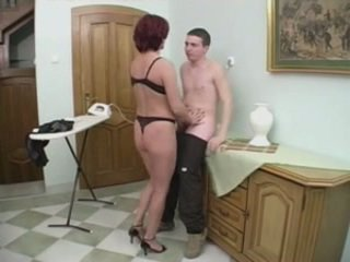 Redhead mom aku wis dhemen jancok gets silit from a young man on the stairs
