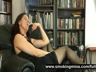 stockings wife is smoking