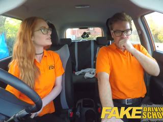 Fake Driving School Creampie in Nerdy Ginger Teen Hairy
