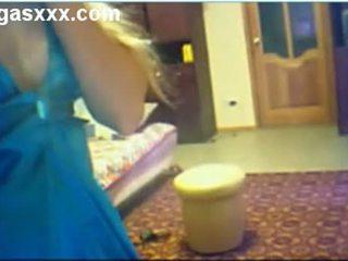 Mom In Hot Blue Dress Dances On Webcam