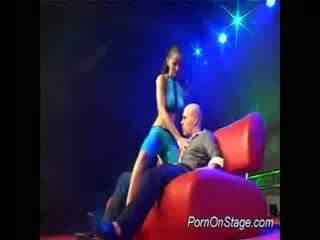 Stripper does bj on stage
