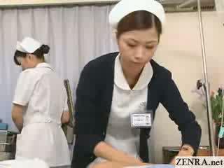 Jap nurse practices her hand job technique