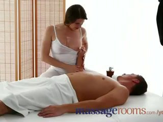 Massage Rooms Sexy masseuse girl with big boobs sucks and fucks hard dick