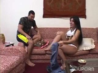 Dick between her legs is a surprise for this guy