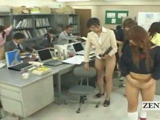 Subtitled fél meztelen bottomless japán iskola iroda