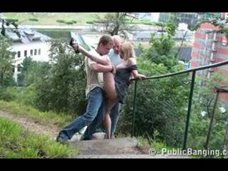 Public sex public threesome on the street