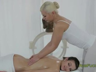 Blonde masseuse gives breasts massage ...