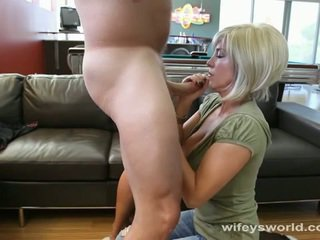 Busty neighbor wife sucks cock and swallows