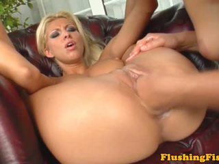 Fist fucked blonde dyke squirt on friend