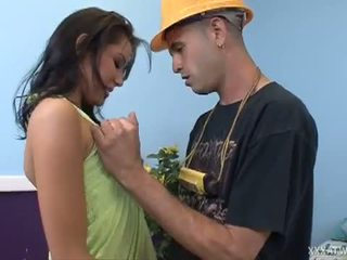 XXX At Work: Sexy brunette Tanner Mayes fucks the repair guy.