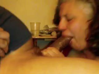 Married mature neighbor sucks a black cock Video
