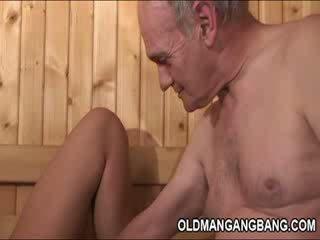 Hot European sauna Gangbang