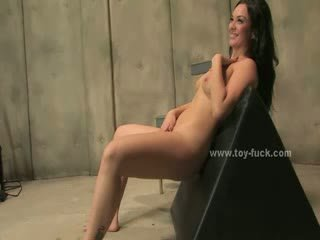 Delicious beautifull brunette with gorgeous tits fingering and using electric fuck machines