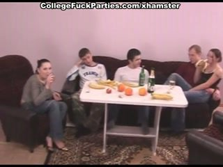 Wild college partie with slutty doll pounded in all holes