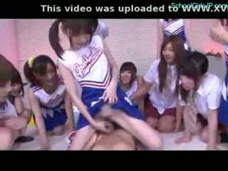 Schoolgirl and cheerladers rubbing guy cock with their pussi