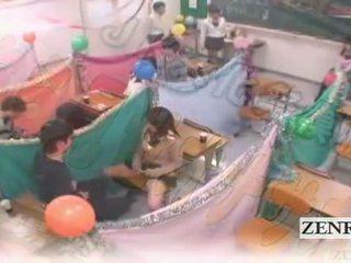 Subtitled japonsko schoolgirls třída masturbation cafe