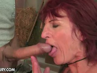 Lusty Grandmas: Horny hunk for cowgirl granny's hairy pussy