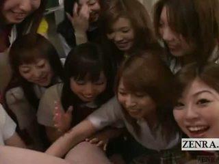Subtitled bekläs kvinnlig naken hane pov japanska skol grupp penisen spela