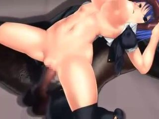 Tight hentai pink pussy fucked by monster cock in 3d
