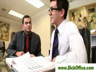 Gay sucks coworker in office
