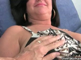 Mature mom with big tits gets finger f...