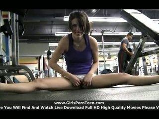 sport, tělocvična plný, skutečný samotné dívky hq