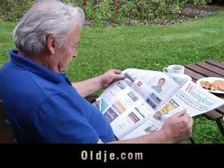Oldje: Blonde angel loves older cocks